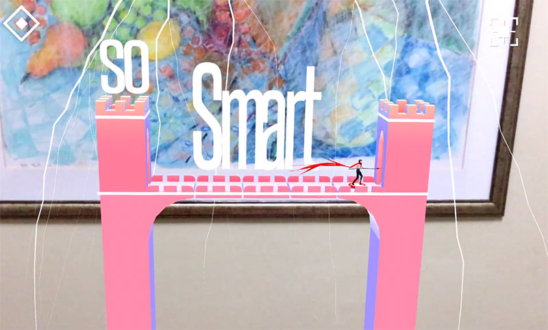 AR puzzle game, character crossing a bridge