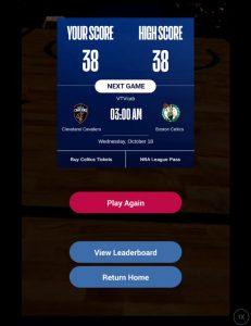 NBA AR app high-score screenshot