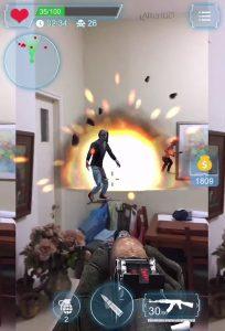 grenade explosion in Zombie Lands AR game