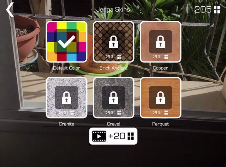 Jenga skins unlock screen