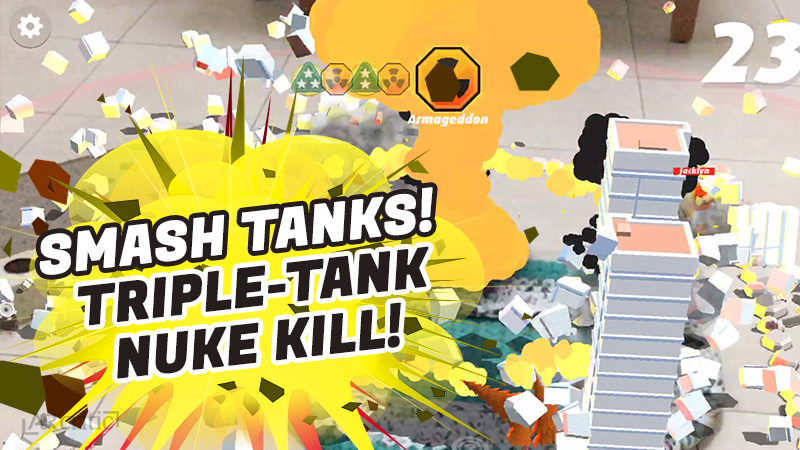 Triple-tank elimination in Smash Tanks game