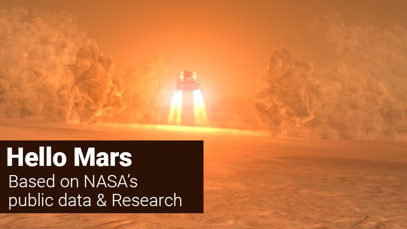 Lander landing on Mars