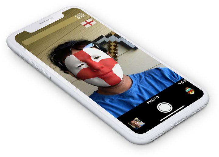 England flag on face via AR