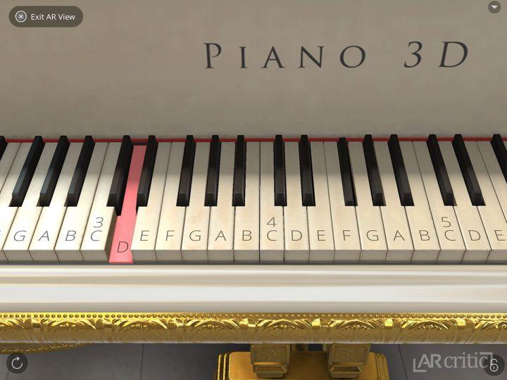 3D Piano keys in AR