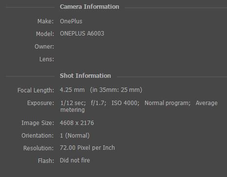 ISO 4000 metadata OnePlus 6
