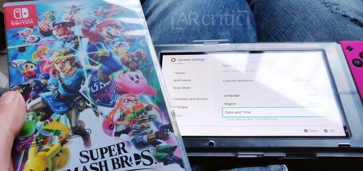 Super Smash Bros. Ultimate box near the Nintendo Switch