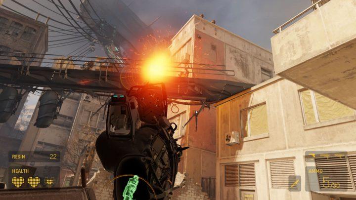 Shooting enemies in Half-Life Alyx VR game